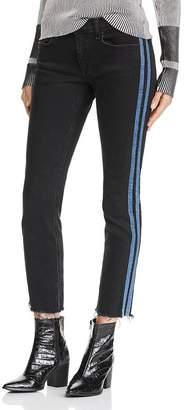 Rag & Bone Dre Track Stripe Ankle Slim Boyfriend Jeans in Stone Black