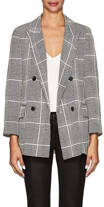 L'Agence Women's Taryn Houndstooth-Plaid Silk Double-Breasted Blazer