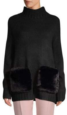 Saks Fifth Avenue Faux Fur Pocket Turtleneck
