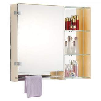 Fab Glass and Mirror LED Mirror Cabinet With 2 Adjustable Shelves And Chrome Towel Bar
