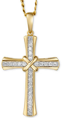 "Macy's Men's Diamond Cross 22"" Pendant Necklace (1/4 ct. t.w.) in 10k Gold"