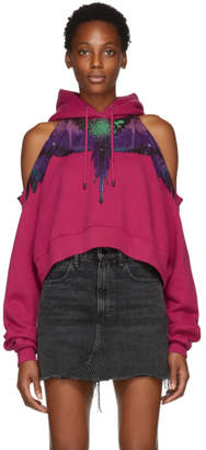 Marcelo Burlon County of Milan Pink Wings Spray Cropped Hoodie