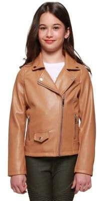Dex Girl's Faux Leather Moto Jacket