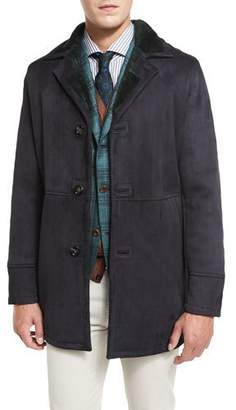 Kiton Lambskin Leather Coat w/Contrast Shearling Lining