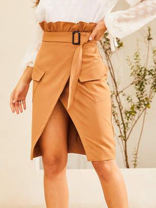 Shein SBetro Flap Pocket Paperbag Waist Wrap Skirt