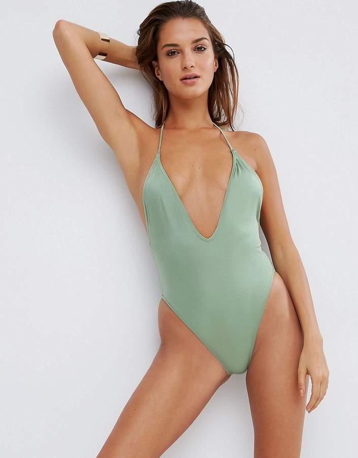 ASOS T Back High Leg Plunge Swimsuit