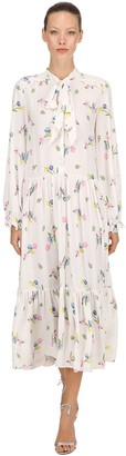 VIVETTA FLORAL PRINTED CREPE LONG DRESS