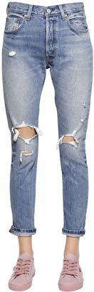 501 Skinny Destroyed Cotton Denim Jeans $144 thestylecure.com