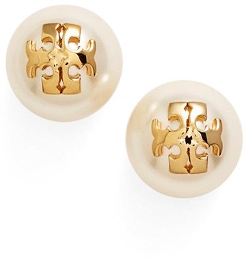 Women's Tory Burch Swarovski Crystal Pearl Logo Stud Earrings