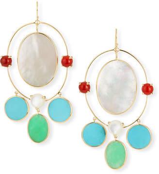 Ippolita Nova 18k Gold Large Oval Orbit Earrings in Riviera Sky