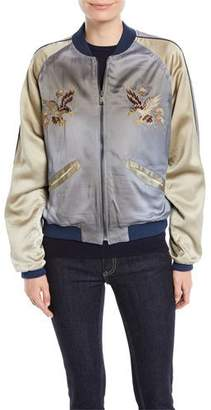 Ralph Lauren Henrique Embroidered Quilted Silk Bomber Jacket