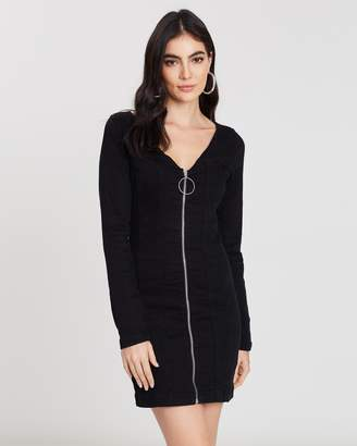 Missguided Zip-Through Long Sleeve Fitted Dress