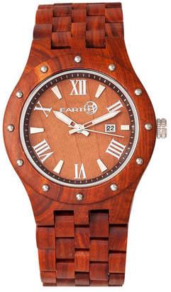 Earth Wood Inyo Wood Bracelet Watch W/Date Red 46Mm
