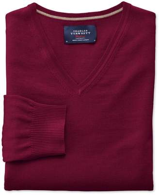Charles Tyrwhitt Dark Red Merino Wool V-Neck Sweater Size Medium
