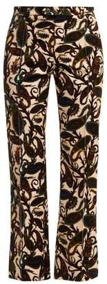Chloé Paisley Print Velvet Trousers - Womens - White Multi
