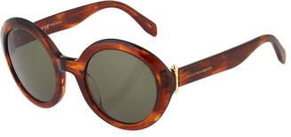 Alexander McQueen Glossy Round Plastic Sunglasses