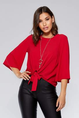 Quiz Red Tie Front 3/4 Necklace Top