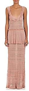 Alberta Ferretti Women's Tiered Crochet Gown-Pink, Blush