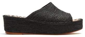 Carrie Forbes - Karim Raffia Flatform Sandals - Womens - Black