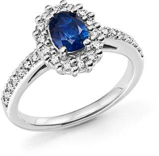Bloomingdale's Sapphire Oval and Diamond Halo Ring in 14K White Gold - 100% Exclusive