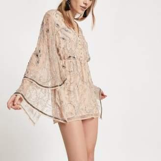 River Island Womens Petite cream embellished kimono romper