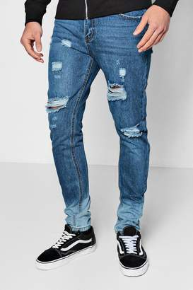 boohoo Skinny Fit Distressed Jeans With Ombre Hem