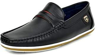 Andrew Marc BRUNO Bruno MARC MODA ITALY BUSH-01 Men's Casual Rubber Sole Driving Loafers Stitched Lining Slip On Boat Shoes BLACK 11