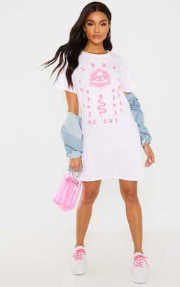 d2d1124a3 PrettyLittleThing White 1994 Slogan Neon Splatter Oversized T Shirt Dress