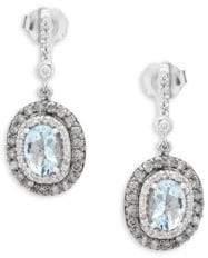 Effy Diamond, Aquamarine and 14K White Gold Oval Drop Earrings