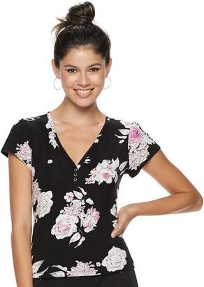 Candies Juniors' Candie's Flutter Sleeve Floral Top