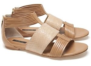 Rachel Zoe Snake/leather Back Zip Sandal: Nude