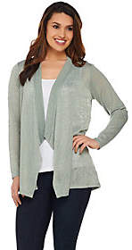 Joan Rivers Classics Collection Joan Rivers Drape Front Cardigan with CrochetLace Back