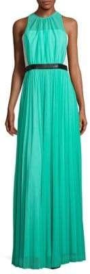 ABS by Allen Schwartz Pleated Sheer Overlay Gown