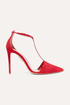 Aquazzura Ritz Suede Pumps - Red