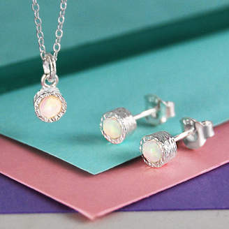 Embers Opal Birthstone Silver Jewellery Set