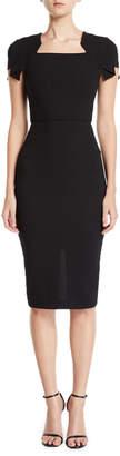 Roland Mouret Cap-Sleeve Square-Neck Sheath Dress