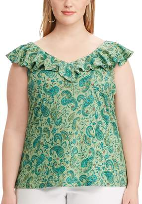 Chaps Plus Size Print Ruffled Sleeveless Top
