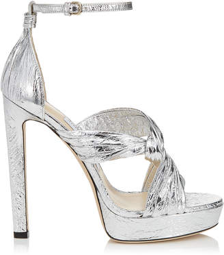 Jimmy Choo ABRIL 130 Silver Metallic Foil Platform Sandals with Intertwined Ruched Leather Straps