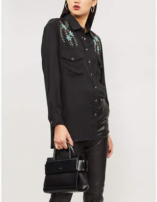 The Kooples Floral-embroidered woven shirt