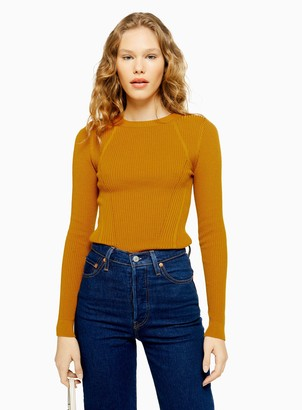 df0e057e59a384 Topshop Womens Knitted Rib Crew Neck Jumper - Mustard