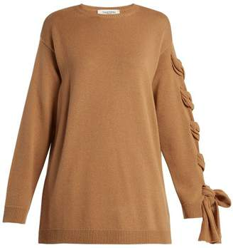 Valentino Laced Cashmere Sweater - Womens - Camel