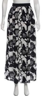 Piamita Floral-Printed Silk Midi Skirt w/ Tags