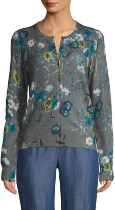 Lord & Taylor Cashmere Floral Cardigan