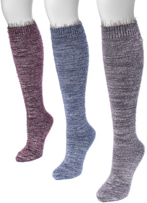 Muk Luks Women's 3 Pair Pack Feather Yarn KneeHigh Socks