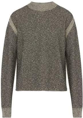 Jil Sander Crew Neck Cotton Blend Boucle Sweater - Mens - Black