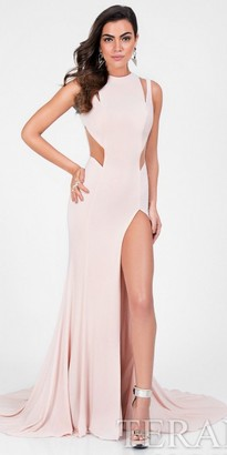 Terani Couture Flirty Cutout Thigh High Slit Prom Dress $264 thestylecure.com