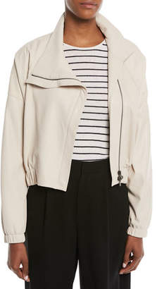 Vince Asymmetric Leather Moto Jacket