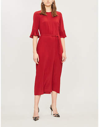Selfridges S Max Mara Entrata flared-sleeve silk-crepe dress