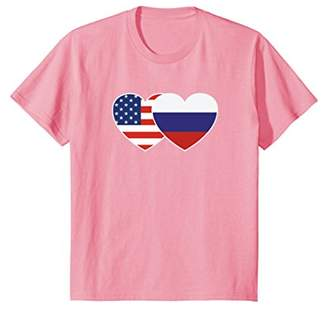 Russia USA Flag Twin Heart T Shirt for Russian Americans