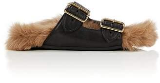 Prada Women's Leather & Fur Slide Sandals